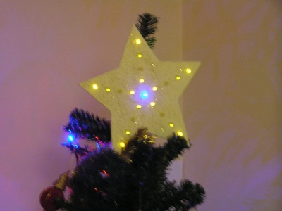 LED flashing star on tree